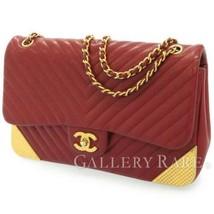 CHANEL Chain Shoulder Bag Lambskin Leather Bordeaux Chevron CC Italy Aut... - $2,947.10