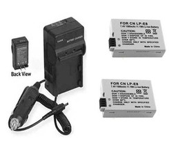 TWO 2X LP-E8 Batteries + Charger for Canon EOS Rebel T2i T3i T4i T5i Dig... - $22.49