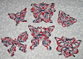 6 Lace, machine embroidered, applique Red white and blue  Butterflies - $7.50