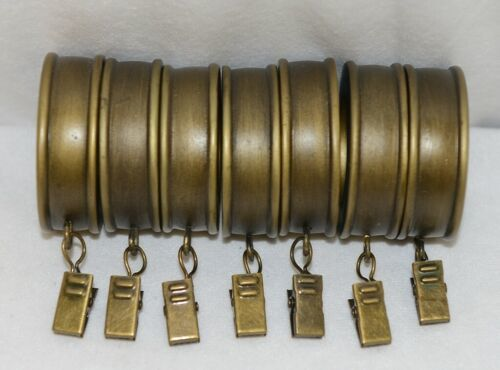 Kirsch 60112787 Antique Gold Fluted Curtain Rings With Removable Clip