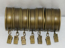 Kirsch 60112787 Antique Gold Fluted Curtain Rings With Removable Clip image 1