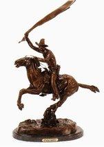 Bronco Saddle Bronze Statue Handmade Sculpture By Frederic Remington Regular Siz - $979.95