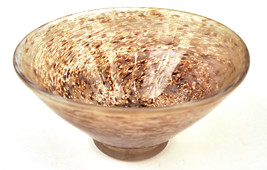 20th Century Signed CJK Hand Blown Glass Bowl Vase Speckled Swirl - $98.88