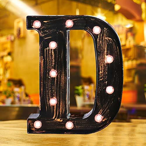 Industrial Style Light Up Letters: Golden Led Marquee Letter D