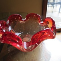 Vtg MCM Art Blown Glass Red Bubble Murano Style Swedish Danish Ashtray /... - $34.65