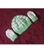 Hand Made Knitted Preemie Newborn Baby Beanie Hat & Mittens Green & White - $15.00