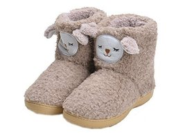 PANDA SUPERSTORE Cute Brown Alpaca Shoes Slippers for Women, US 6.5-7