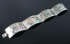 Vintage .925 Sterling Silver Signed VCC Iguala MEX Abalone Shell Bracele... - $80.99
