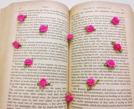 50 Hot Pink Satin Roses,Mini Rose Buds with Leaf,Craft Flowers,Sewing Su... - $7.50