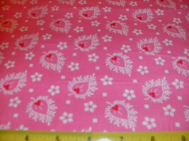 Andover Quilt Fabric White Red Flowers Floral Red Rosy Pink BTY - $6.89