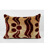 BAHMAL MERLOT SILK VELVET IKAT ACCENT PILLOW - $135.00