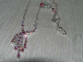 Estate Demi Dainty Clear with Pink Rhinestone Drop Necklace & Post Earrings - $7.78