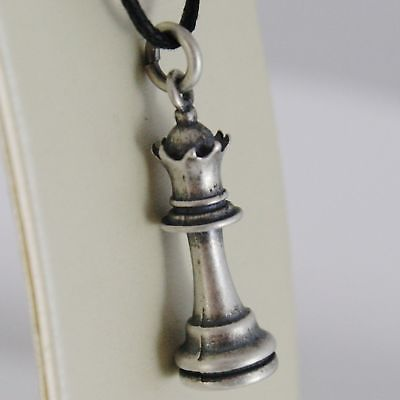 SILVER 925 PENDANT BURNISHED SHAPED QUEEN OF THE CHESS MADE IN ITALY