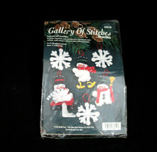 Bucilla Vintage Snowmen And Snowflakes Ornaments 1996 Gallery of Stitche... - $12.86