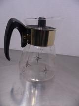 Vintage Corning Atomic Era Tea Coffee Carafe Clear Gold Stars Clear - $17.82