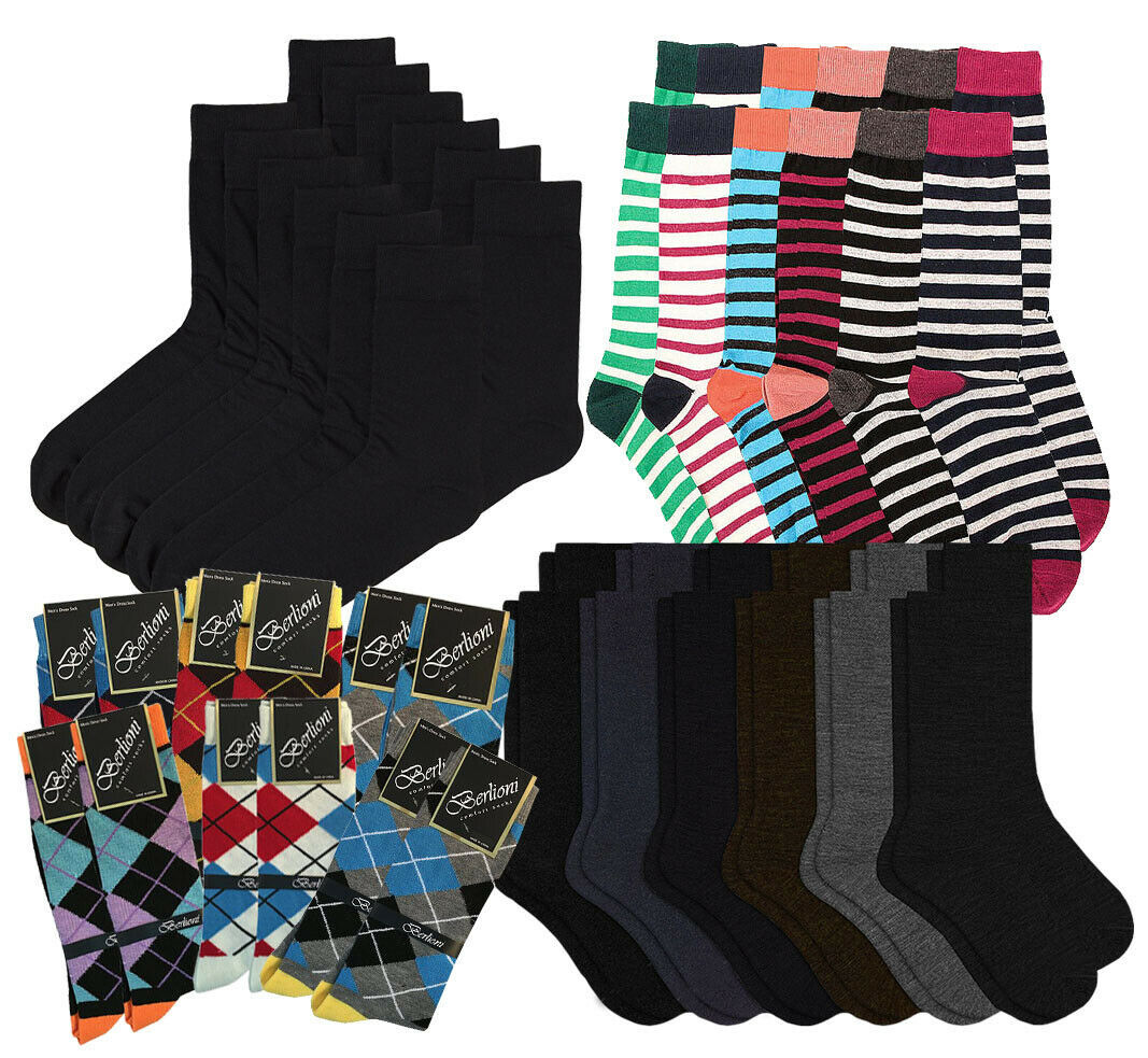 Pack of 12 Men's Premium Cotton Fashion Casual Mid Calf Patterned Dress Socks