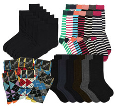 Pack of 12 Men's Premium Cotton Fashion Casual Mid Calf Patterned Dress Socks image 1