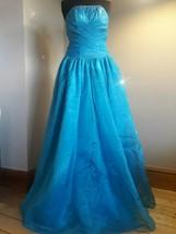 Yiyuan bridal princess dress/ball gown blue organza size 8 handbeaded - $14.91