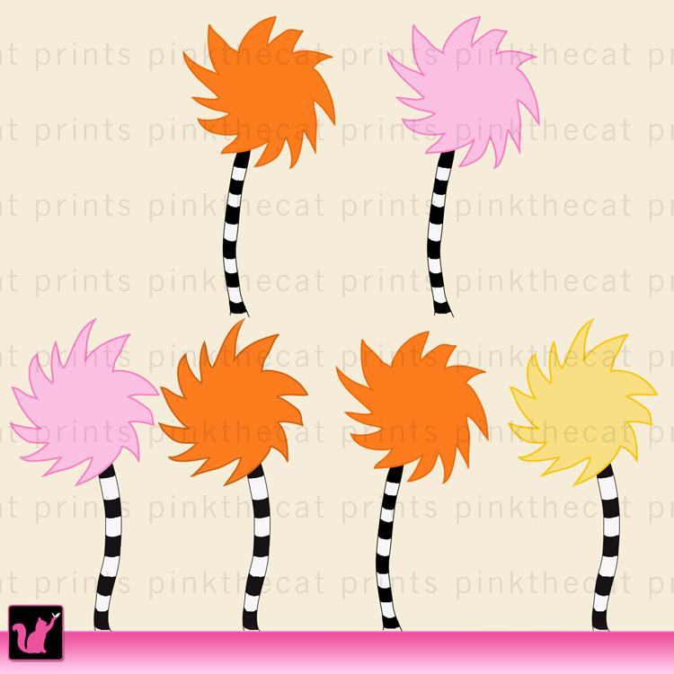 Dr Seuss lorax trees truffula inspired clip art digital ...