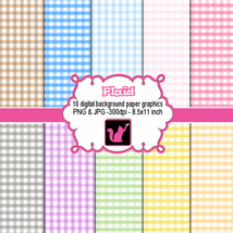 Checkered plaid gingham clip art digital backgr... - $6.00