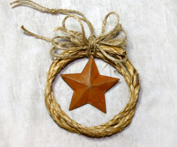 Country Western Cowboy Rope Christmas Ornament with a Rusty Star - $12.98