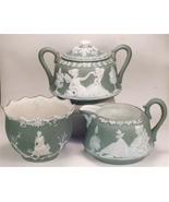 Jasperware Creamer, Sugar Bowl, & Bowl, Schafer... - $75.00