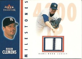 2003 Fleer Tradition Milestones Game Used Roger Clemens Yankees - $10.00