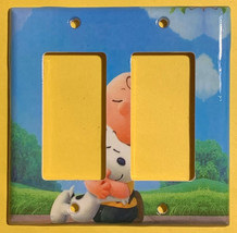 Peanuts Snoopy Charlie Brown Hug Light Switch Power wall Cover Plate Home decor image 5
