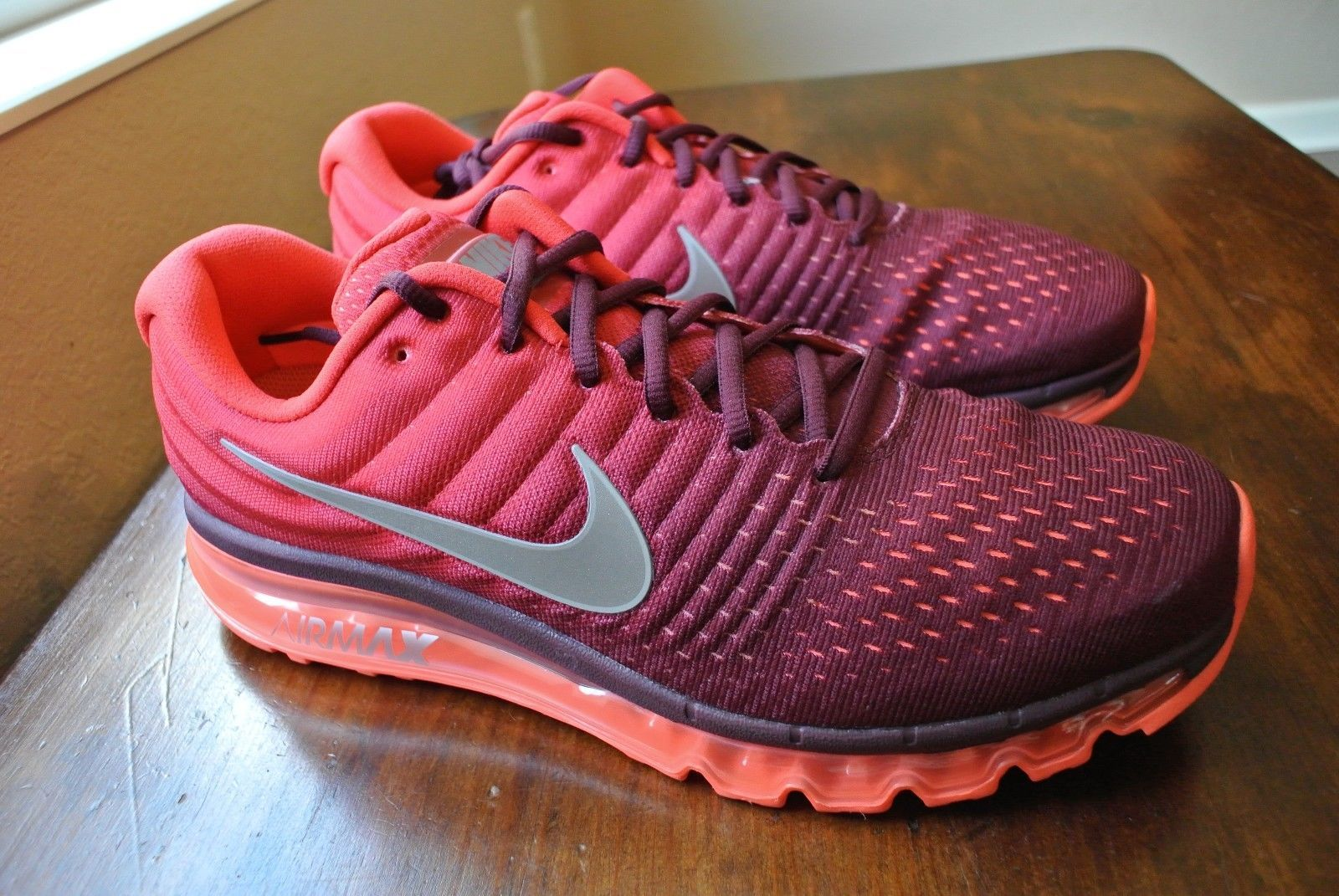 new product 5eda3 a97d8 NIKE AIR MAX 2017 NIGHT MAROON WHITE GYM RED 849559 601 US MENS SHOE SIZE 13