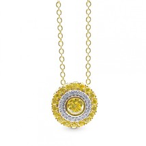 0.51Cts Yellow Diamond Halo Pendant Necklace Set in 18K White Yellow Gol... - $3,811.50
