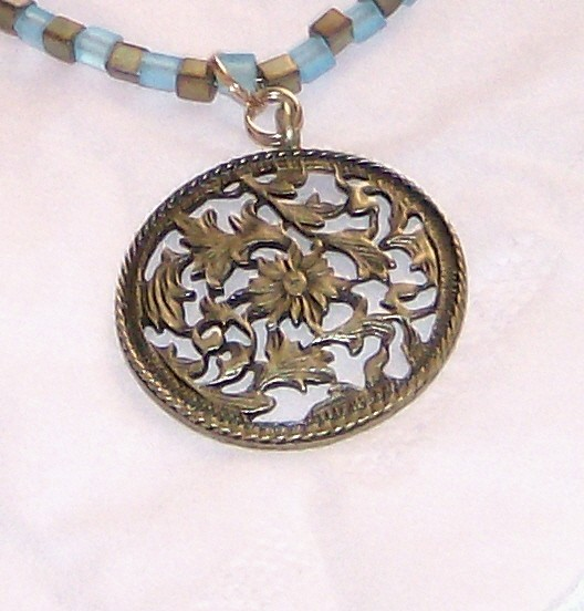 """bronze pendant with matte finished sky blue and sage iris beads 24"""" necklace"""