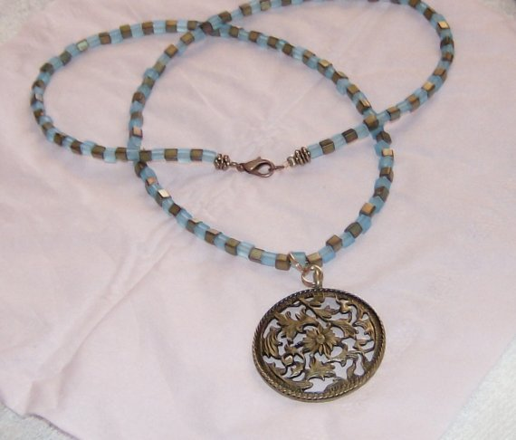 "bronze pendant with matte finished sky blue and sage iris beads 24"" necklace"
