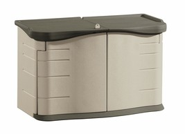 Rubbermaid Outdoor Split-Lid Storage Shed, 18 Cu. Ft., Olive/Sandstone - $258.86