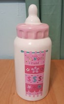 Little angel funf girl PINK CERAMIC coin BABY BOTTLE BANK used - $18.67