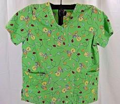 Tweety Bird Christmas Lights Green Scrub V-Neck  m 8/10  2 Double Front ... - $21.99