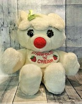 Strawberry N Cream Straw-Beary White Bear Plush Bib Bow Commonwealth 198... - $149.99