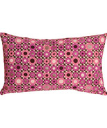 Pillow Decor - Houndstooth Spheres 12x20 Pink Throw Pillow - $39.95