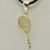 18K YELLOW GOLD TENNIS RACKET PENDANT, CHARM, 20 mm, 0.8 inches, MADE IN ITALY image 2