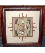 Dark Oak Double Matted Wood Framed Sand Painting of a Woman Female - $19.95