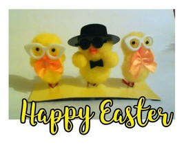 3x Smal Fluffy Yellow Easter Chicks EggDecoration Ostern Home Decor Happ... - $7.52