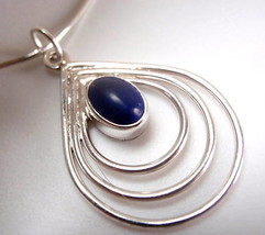Lapis 3- Hoop 925 Sterling Silver Pendant New India - $16.82