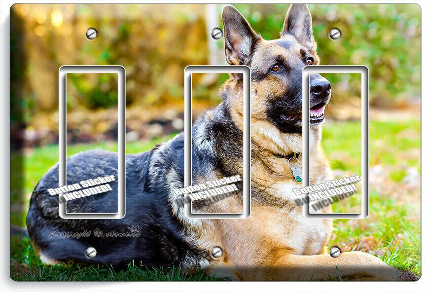 GERMAN SHEPHERD DOG RELAXING LIGHT SWITCH 3 GFCI WALL COVER GROOMING SALON DECOR