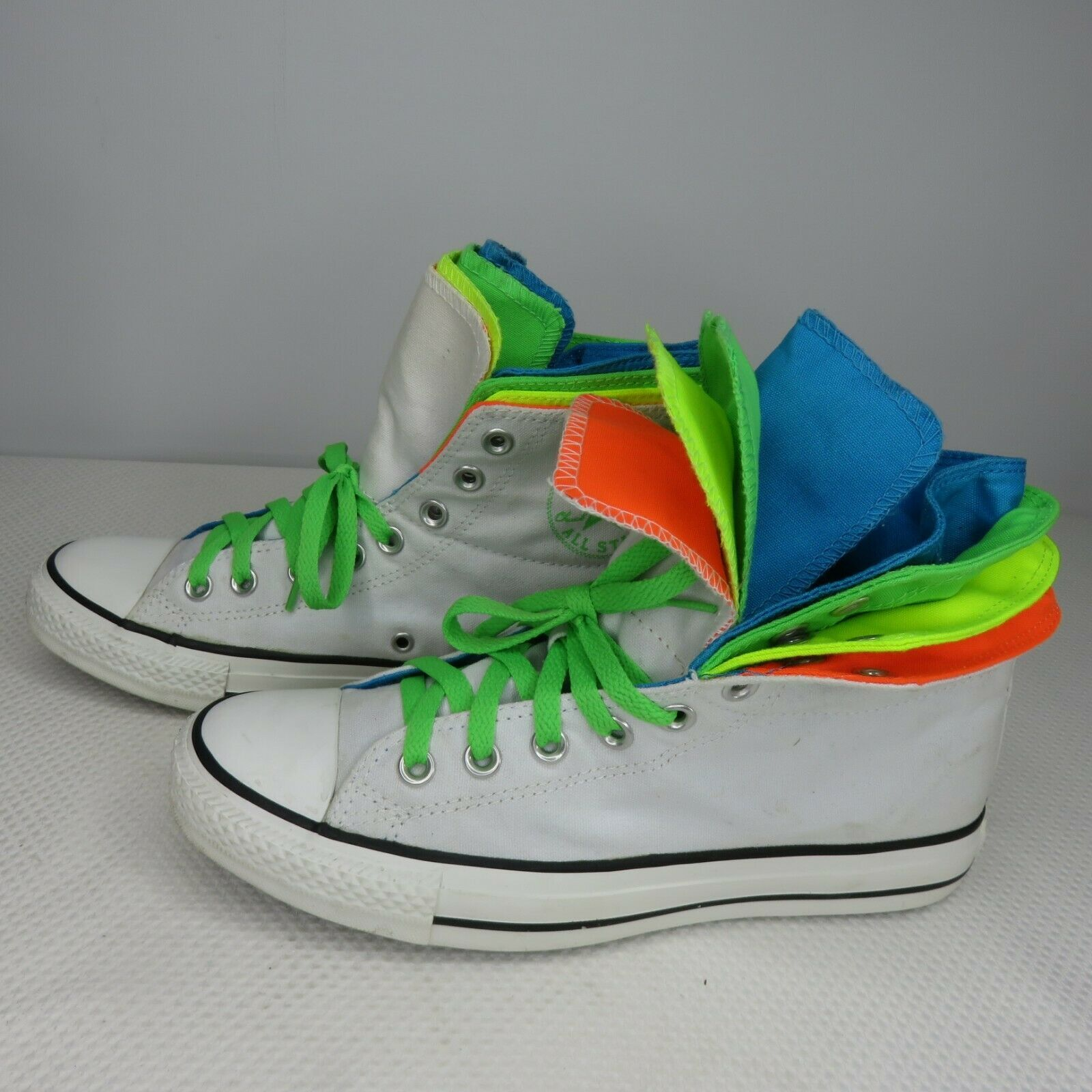 Converse Quad Fold Hi Top White Neon Blue Orange Yellow Green 9 Womens 7 Mens