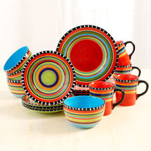 Ceramic Red  Springs Dinnerware Stoneware Dishes Plates Bowls Cups 16 pc... - $119.78
