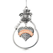 Inspired Silver Peach Mom of the Groom Pave Heart Snowman Holiday Decoration Chr - $14.69