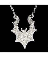 Swarovski Crystal Halloween Costume Night Bat Vampire Charm Necklace - $38.00