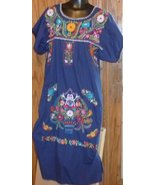 Vintage Mexican (?) Ethnic Boho Hippie EMBROIDERED navy tunic DRESS - $94.99