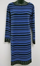 Dress 1X Plus Michael Kors $110 NWT Blue Black Stripes Studs Long Sleeve... - $39.59