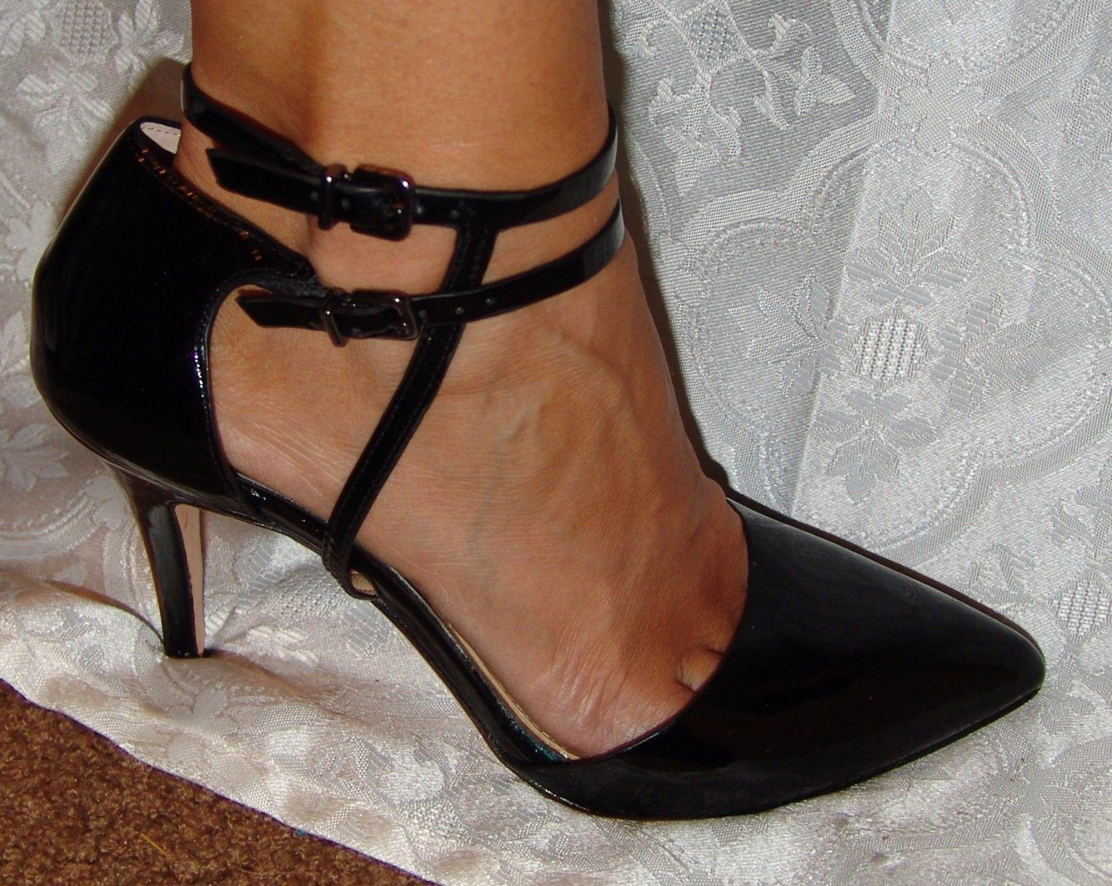 Antonio Melani Black Patent Leather Strappy Heels Pumps Womens 8.5 M Shoes 8 1/2