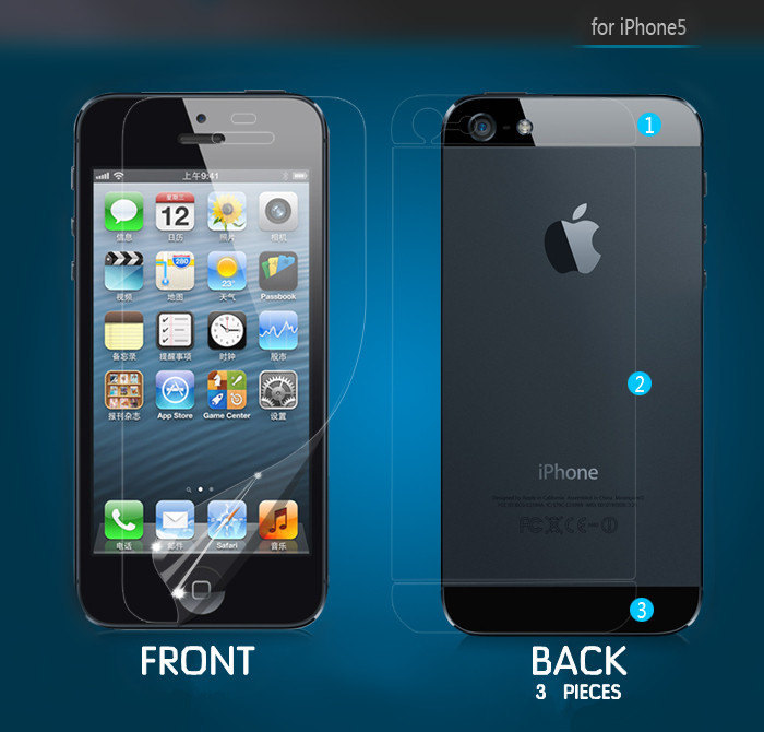 For iphone 5 Screen Protector Film Guard Front Back Protection Pack Set Back Pro
